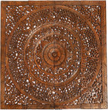 "Elegant Wood Carved Wall Plaque. Asian Home Decor Wood Carved Floral Wall Art Panel. 48"" Color Options Available"