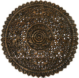 Elegant Medallion Wood Carved Wall Art Panel. Bali Rustic Home Decor Wall Art. Size and Color Options Available
