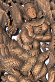 "Thai Figure Carved Wood Wall Panels. Asian Home Decor. 35.5""x13.5""x1"". Set of 2 pcs Color Options Available"
