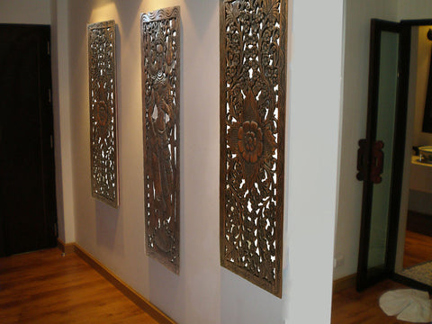 Multi panels oriental home decor wood carved floral wall for Panel home designs
