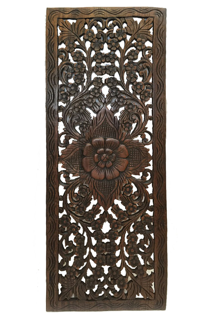 Wood carved floral wall art oriental home decor - Carved wood wall art panels ...