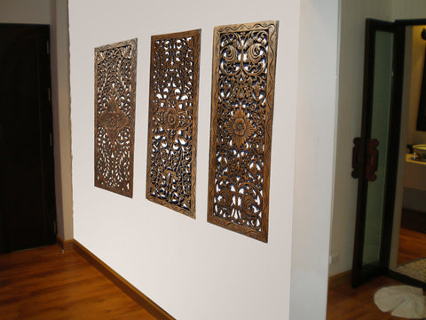 Asian Home Decor.Floral Wood Carved Wall Panel.Wall Art – Asiana ...