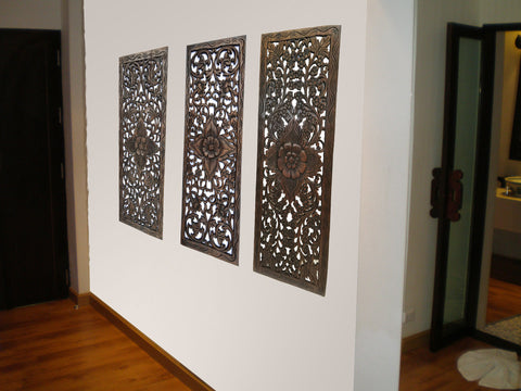 Floral Wood Carved Wall Panel. Wall Hanging. Decorative Thai Wall Relief  Panel Sculpture.