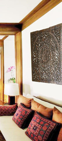 "Elegant Wood Carved Wall Plaque. Set of 3 Wood Carved Lotus Wall Panels. Asian Home Decor. 36"" Dark Brown Finish"