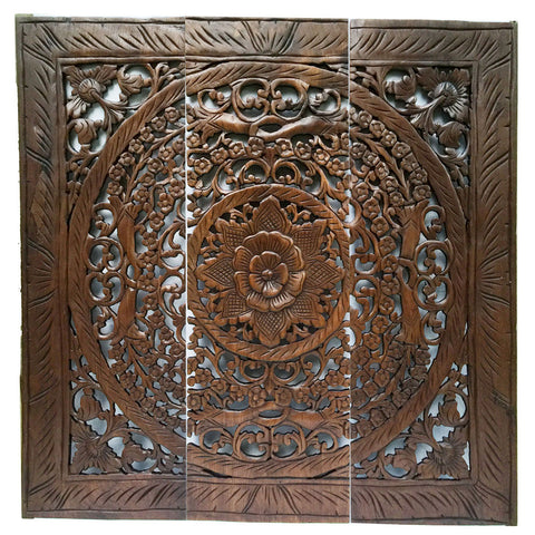 "CLEARANCE Large Wood Carved Wall Art Panel.  Asian Home Decor. Dark Brown 36"" Square"