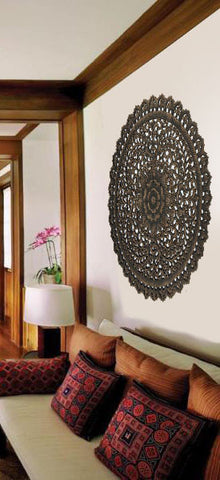 Elegant Medallion Wood Carved Wall Plaque. Round Wood Carved Floral Wall Art.  Asian Home