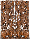 "Thai Figure with Singha Lion Carved Wood Wall Art Panels. Asian Home Decor Wall Art. Brown Finish 35.5""x13.5""x1"" Each, Set of 2 pcs"