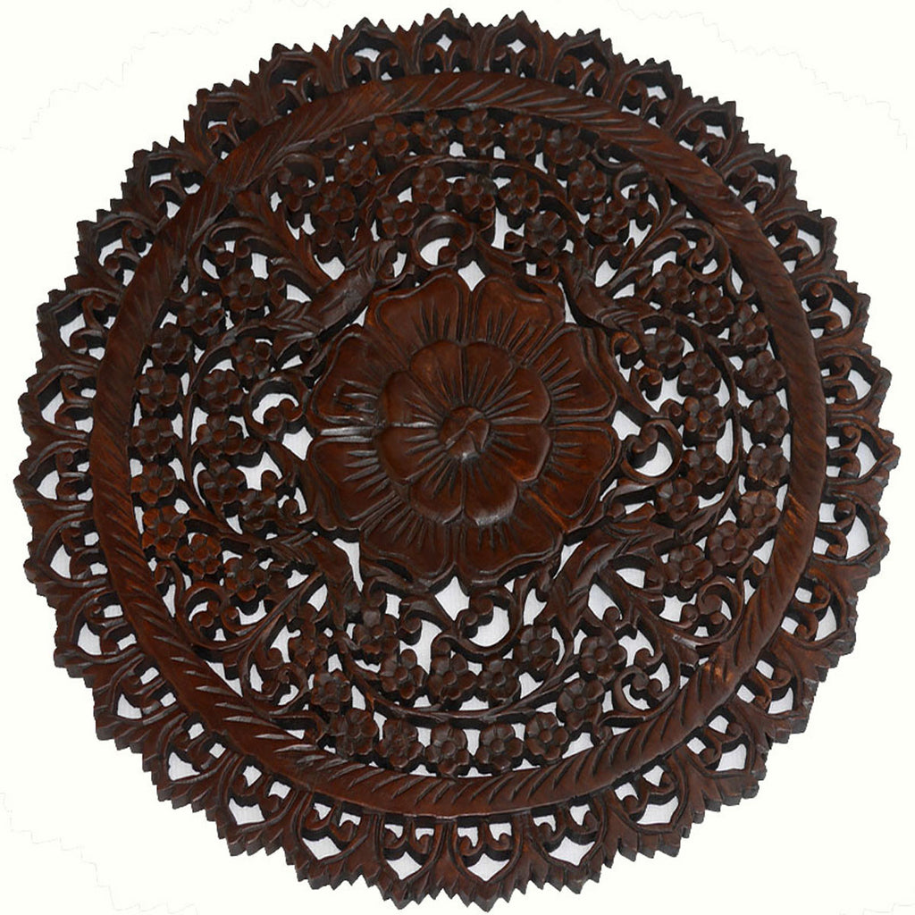 Oriental Round Carved Wood Wall Decor Decorative Floral Wall Plaques Asiana Home Decor