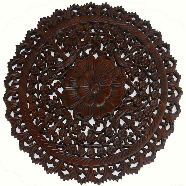 Oriental Round Carved Wood Wall Decor Decorative Floral