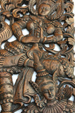 "Traditional Thai Figure Carved Wood  Wall Decor Panels. Asian Home Decor. Decorative Wood Carving Sculpture. Dark Brown Finish 35.5""x13.5""x1"". Set of 2 pcs"