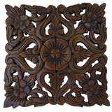 "Wood Plaque Oriental Carved Lotus. Square Rustic Wall Decor. Hand Carved Wall Art Decor Panel. Thai Decorative Wood Panels. Dark Brown Finish Size 12""x12""x0.5"""