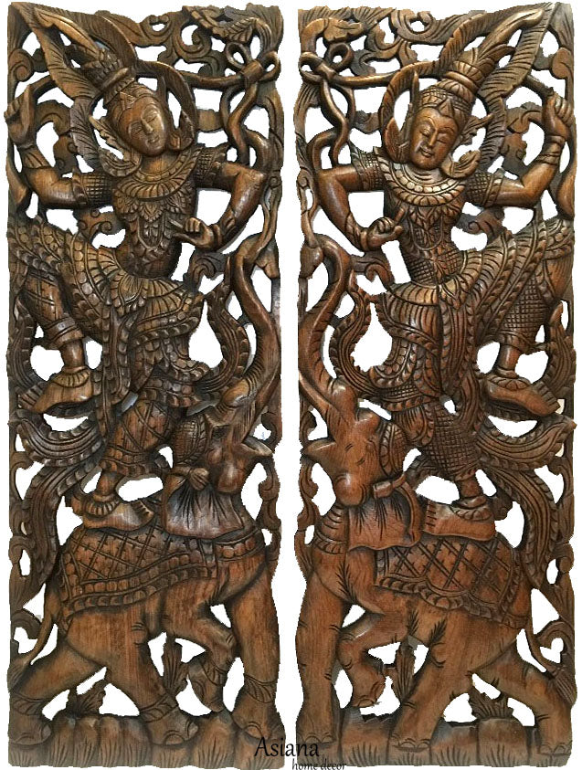 "Traditional Thai Dance Figure and Elephant Large Carved Wood Panels. Dark Brown Finish 35.5""x13.5"" Each, Set of 2 pcs"