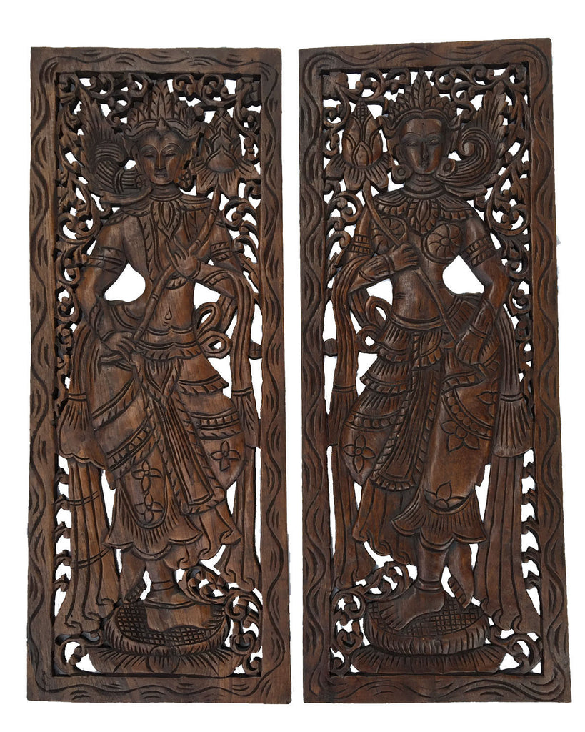 Wood Carved Wall Art. Large Carved Wood Panel. Thai Decorative Wood Panel.  Wood - Best Asian Wood Carved Wall Art Panels. Unique Handmade Wall Decor