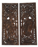 "Wood Carved Wall Art. Large Carved Wood Panel. Thai Decorative Wood Panel. Wood Wall Sculpture. Asian Bali Home Decor. Lotus Flower Wall Decor. Dark Brown Finish 35.5""x13.5""x0.5"" Set of 2"