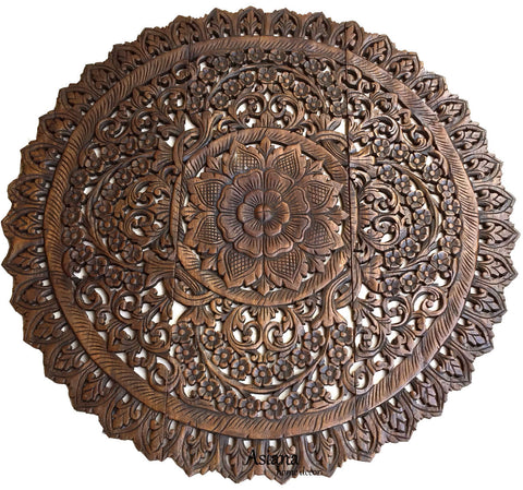 Metal Medallion Wall Art elegant wood carved wall plaque.floral wood wall panels – asiana