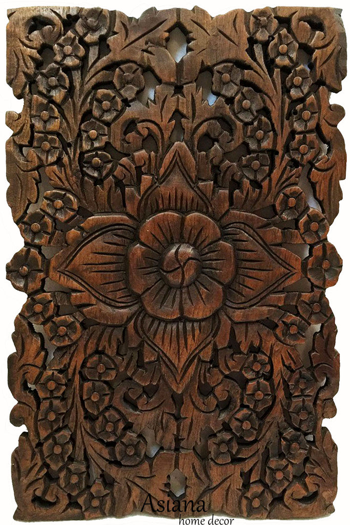 "Wood Wall Decor Lotus flower. Oriental Teak Wood Wall Hanging. Hand Carved Wall Art Decor Panel. Rustic Wall Decor. Color Options Available. 12""x17.5""x0.5"""
