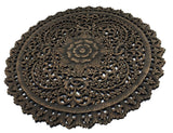 Round Carved Wood Wall Panel