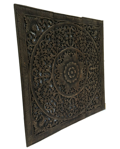 Wood Carved Floral Wall Art. Bali Home Decor.