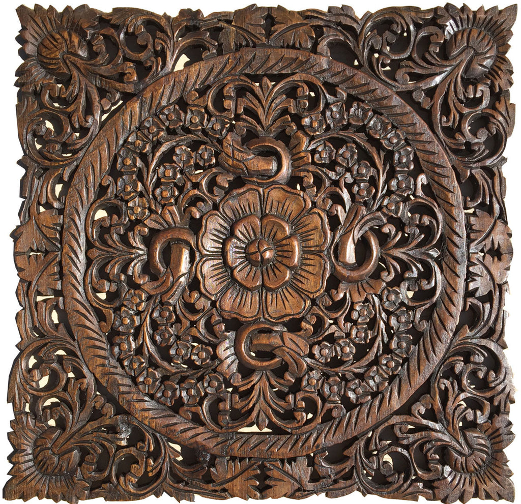 Oriental hand carved wood wall plaques sculptures