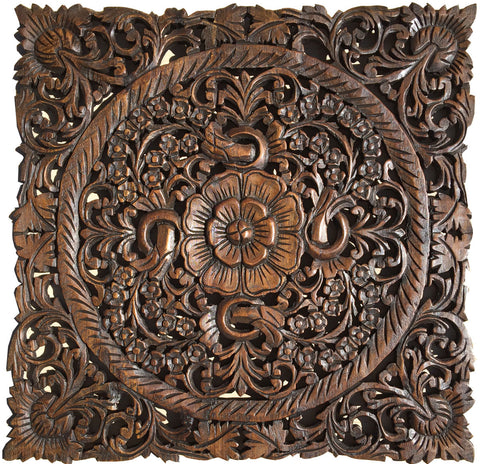 "Asian Wood Wall Plaques. Wall Sculptures. Large Wood Wall Hangings. Floral Design. Rustic Wall Decor. 24"" Square Color Options Available"