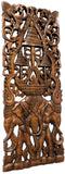 "Elephants with Three-Tiered Umbrella Carved Wood Wall Art Decor. Brown Finish 35.5""x13.5"" Extra Thick"