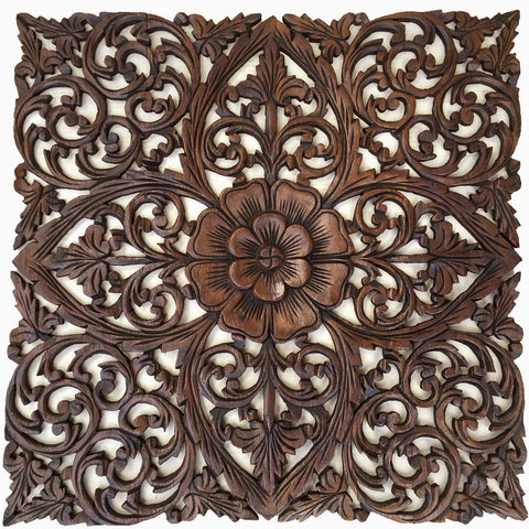 "Oriental Hand Carved Wood Wall Plaques. Large Square Floral Wood Wall Hangings. Carved Wood Wall Decor. Carved Wood Wall Art. Decorative Thai Wall Relief Panel Sculpture. Dark Brown 24""x24""x0.5"""