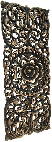 Large Wooden Wall Art floral wood carved wall panel. wood wall decor for sale – asiana