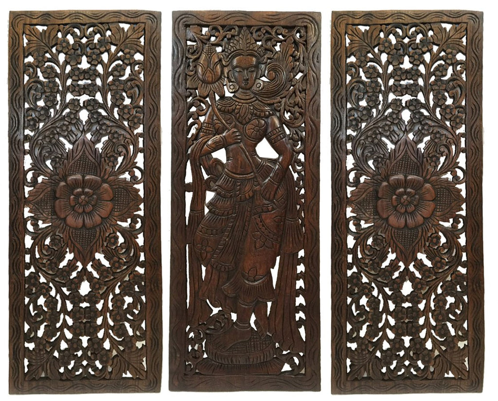 Wood Wall Art Panels multi panels oriental home decor. wood carved floral wall art