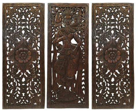 "Multi Panels Oriental Bali Home Decor. Wood Carved Floral Wall Art. 35.5""x13.5"" Set of 3 Optional Designs"
