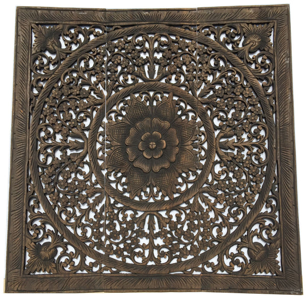 Wood Wall Panels Decorative Designs : Elegant wood carved wall plaque floral panels