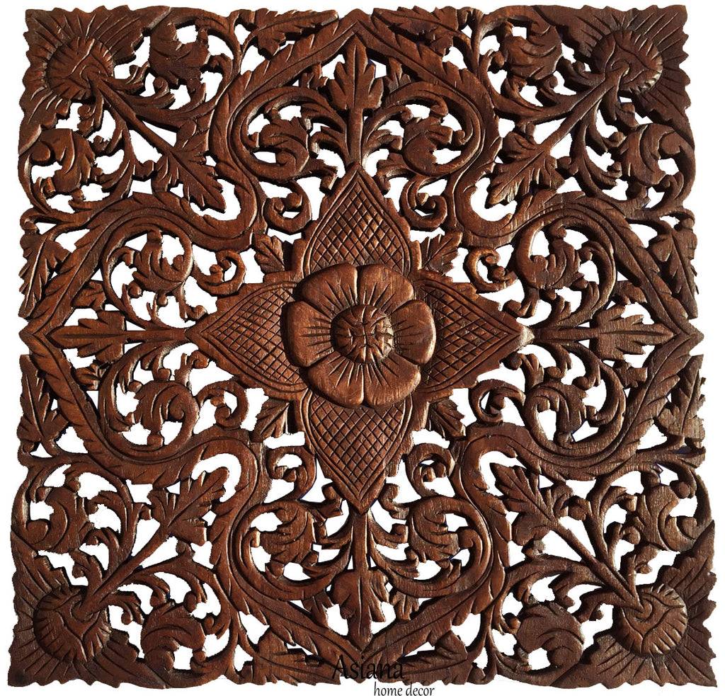 "Oriental Carved Floral Wall Decor. Unique Asian Wood Wall Art. Large Square Carved Wood Panel. Rustic Wall Decor. 24""x24""x0.5"" Color Options Available"