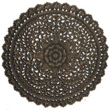 Rustic wall decor round carved wood wall art panel