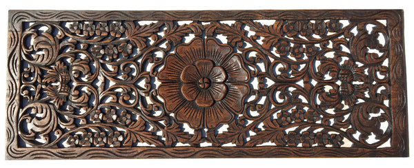 Floral Wood Carved Wall Panel Rustic Home Decor Carving
