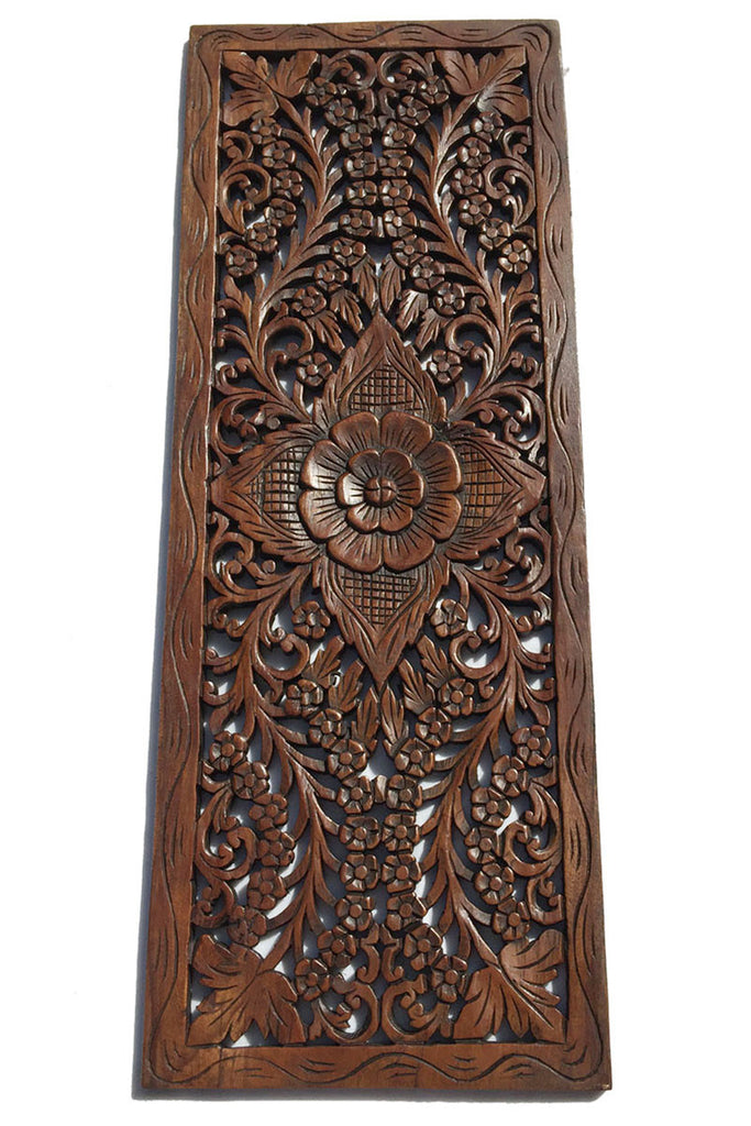 Floral wood carved wall panel hanging decorative