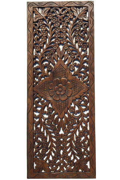 Floral Wood Carved Wall Panel. Wall Hanging. Decorative ...