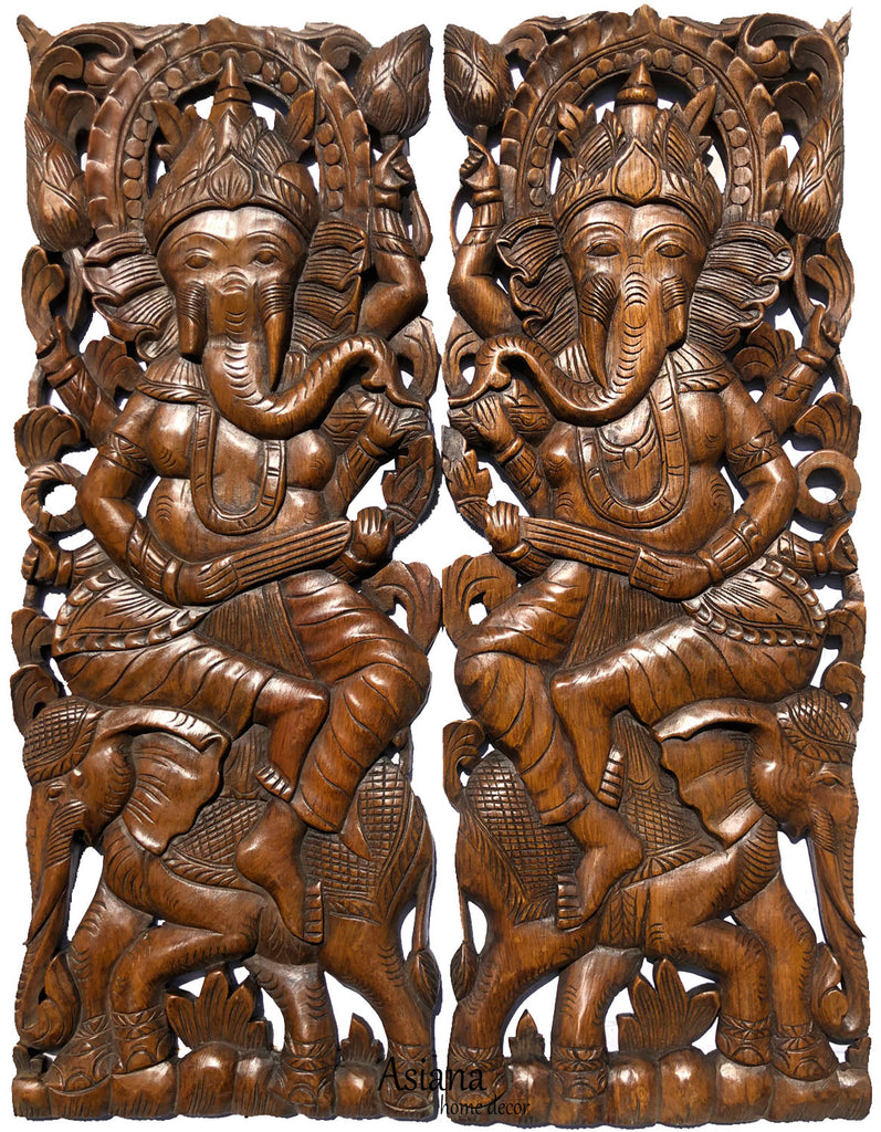 "Ganesha Buddha with Elephant Carved Wood Panels. Brown Finish 35.5""x13.5"" Each, Set of 2 pcs"