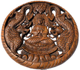 "Round Buddha with Dragon Carved Wood Wall Art Decor. Brown Finish 24"" Extra Thick"
