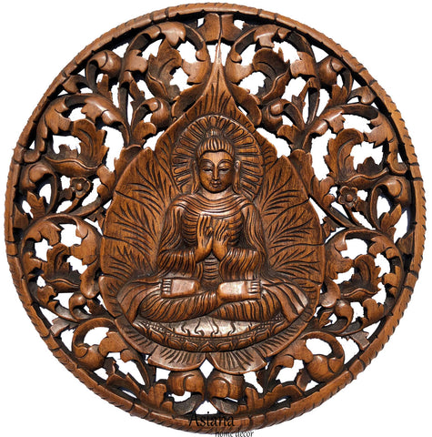"Round Buddha with Fig Leaf Carved Wood Wall Art Decor. Brown Finish 24"" Extra Thick"