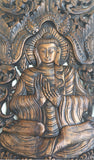 "Large Carved Wood Panel. Buddha Wall Art. Buddha Wood Wall Decor. Buddha on Elephants Carved Wood Wall Decor in Dark Brown Finish 35.5""x13.5""x1"""