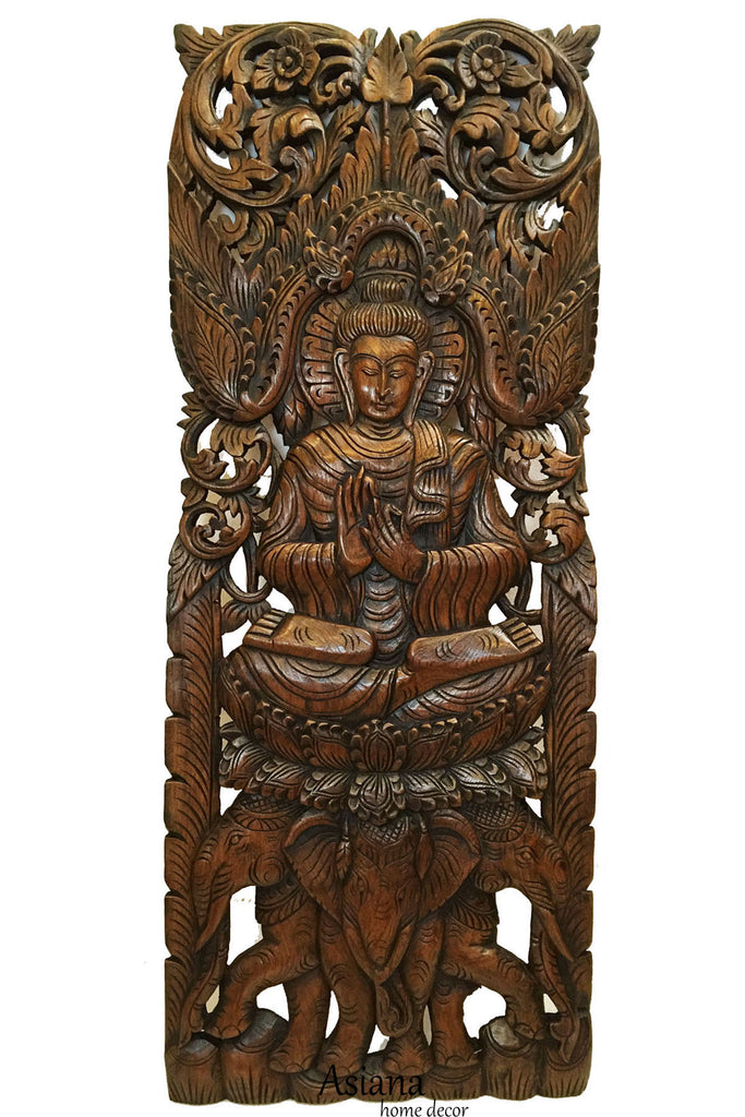 Carved Wood Wall Art Part - 18: Large Carved Wood Panel. Buddha Wall Art. Buddha Wood Wall Decor. Buddha On