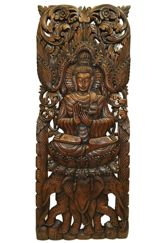 Buddha Wall Art Buddha Wood Wall Decor Large Carved Wood Panel