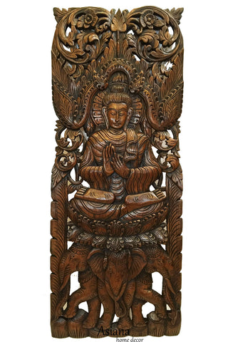 "Large Carved Wood Panel. Buddha on Elephants Wood Wall Art Decor. Dark Brown Finish 35.5""x13.5"" Extra Thick"