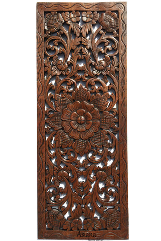 "Floral Wood Carved Wall Panel. Asian Home Decor. Carved Lotus Wall Plaque 35.5""x13.5""x0.5"" Dark Brown"