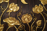 "Asian Wood Carved Wall Art Panels. Lotus Flower and Moon Relief Wood Carved Wall Hanging. 36"" Dark Brown and Gold"