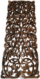 "Floral Tropical Carved Wood Wall Art Panel. Rustic Home Decor. Teak Wood Headboard. 35.5""x13.5 Extra Thick Dark Brown"