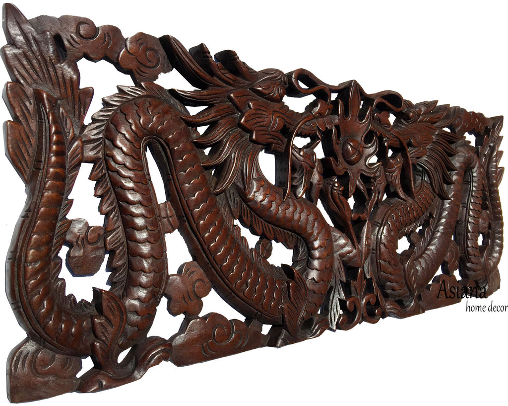 "Dragon Wood Carved Wall Panel. Asian Chinese Home Decor. Decorative Wood Carving Sculpture. Dark Brown Finish 35.5""x13.5""x1"""