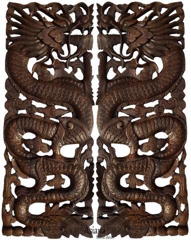 "Wood Carved Dragon Wall Art Panels. Asian Chinese Home Decor. Decorative Wood Carving Sculpture. Dark Brown Finish 35.5""x13.5""x1"". Set of 2 pcs"