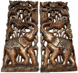 "Tropical Home Decor. Carved Wood wall Art Oriental Decor. Elephant with Lotus flower Wall Decor. Teak Wood Wall Art. 17.5""x7.5""x1"" Each, Set of 2 pcs. Available in Brown and Antique"