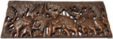 "Elephant Family Wood Carved Wall Panel. Tropical Home Decor. 35.5""x13.5""x0.5"" Extra Thick"
