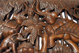 "Elephant Family Wood Carved Wall Panel. Tropical Home Decor. Design Options 35.5""x13.5"" Extra Thick"